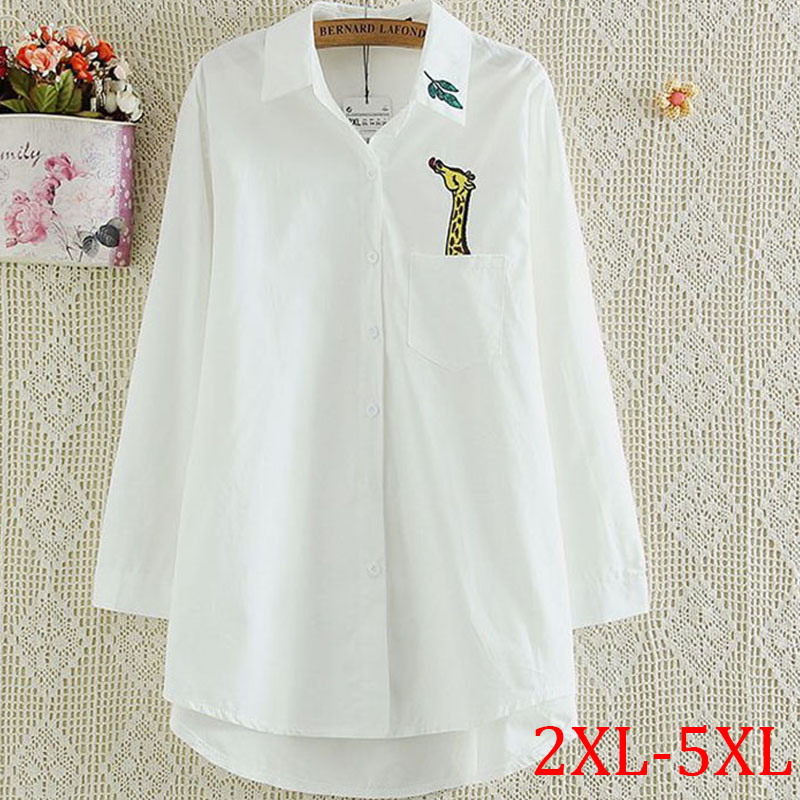 New autumn women blouse giraffe embroidery tops long for White cotton work shirts