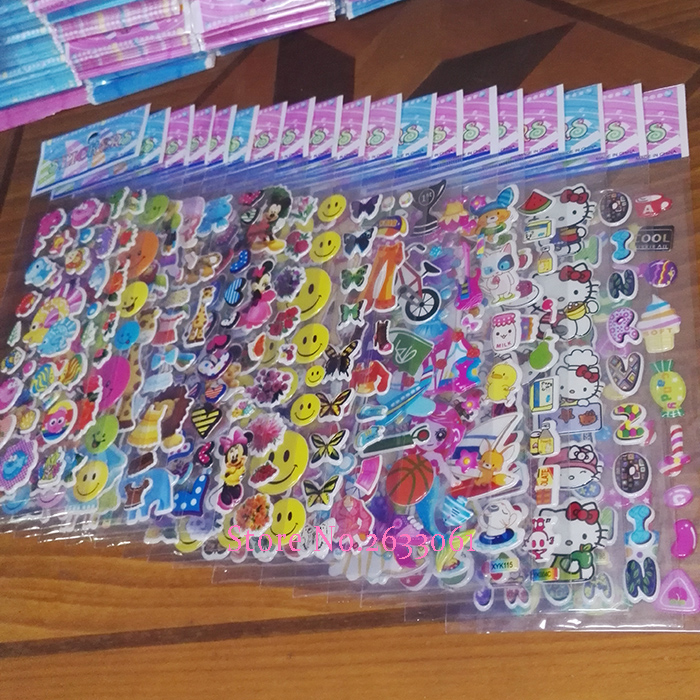 10 Sheets/lot 3D Puffy Bubble Mixed Sticker Cartoon Comic Animation Stickers for Children Kids DIY Children Kids Boy Girl Toy 6 sheets lot 3d puffy bubble stickers mixed cartoon kawaii stickers toys dress up girl changing clothes kids toys for children