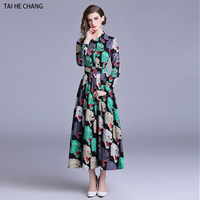 women fashion designer autumn elegant vestidos slim bodycon party vintage office runway maxi long sleeve print animal dress