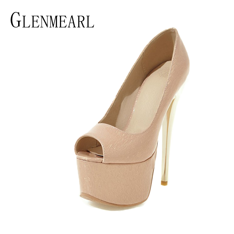 Sexy Stiletto Women High Heels Shoes Pumps Fashion  Platform Thin Heels Single Ladies Party Wedding Pumps Shoes Plus Size 34-46 new sexy thin high heels shoes women pumps 2018 spring round toe platform single shoes women wedding party big size 34 45 27 5cm
