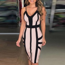 2019 Summer Women Striped Spaghetti Strap Dress Sexy & Club  Print Sleeveless Bodycon V-Neck