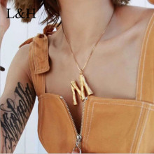 L&H 2019 Autumn Fashion exaggeration Statement Gold Color Long Chain Choker Necklace Pendant For Women Jewelry Drop Shipping