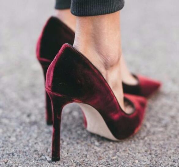 BONJEAN date vin rouge velours chaussures à talons hauts Sexy bout pointu talons fins pompes pour femme sans lacet bureau dame robe talons noir