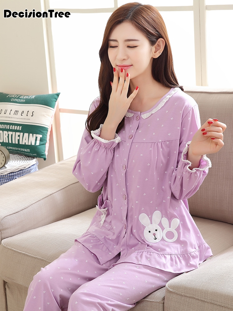 Korea Fresh Maple Leaf Pajama Sets Women  Gauze Cotton Long Sleeve Casual Sleepwear Women Pyjama Pijamas