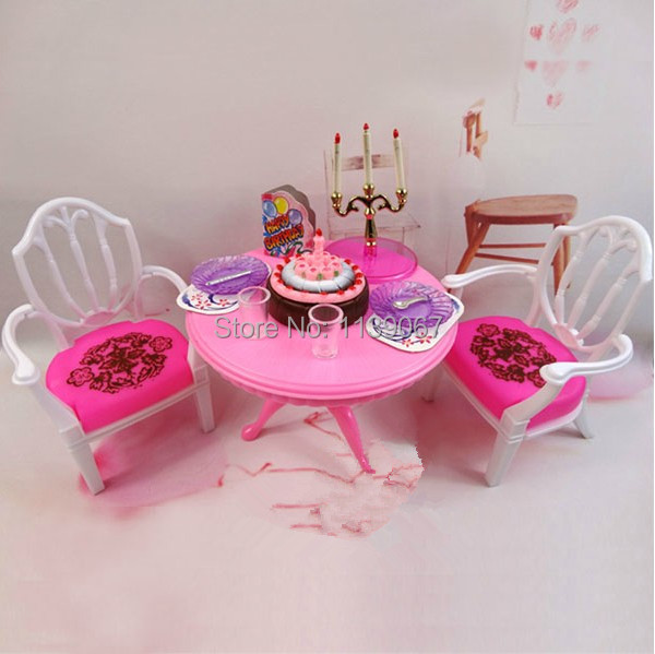Pink Dinner Desk Chair Set / Dollhouse Eating Room Equipment Lady's toy Furnishings with Saucer for Barbie Kelly Doll Reward