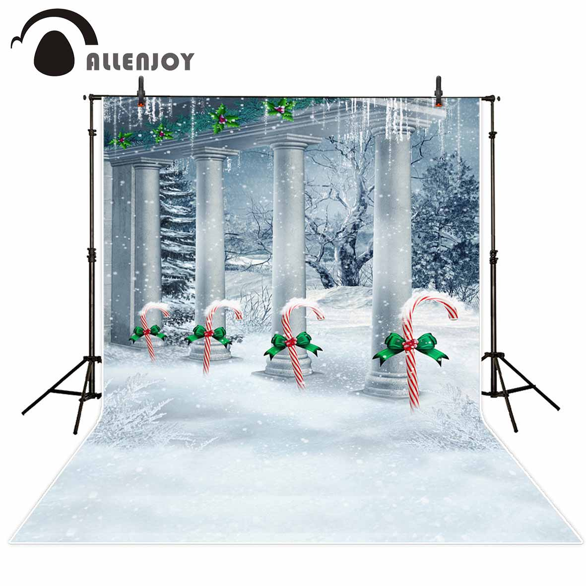 Allenjoy photography backdrops Christmas background winter snow cane sugar vinyl backdrops for photography baby