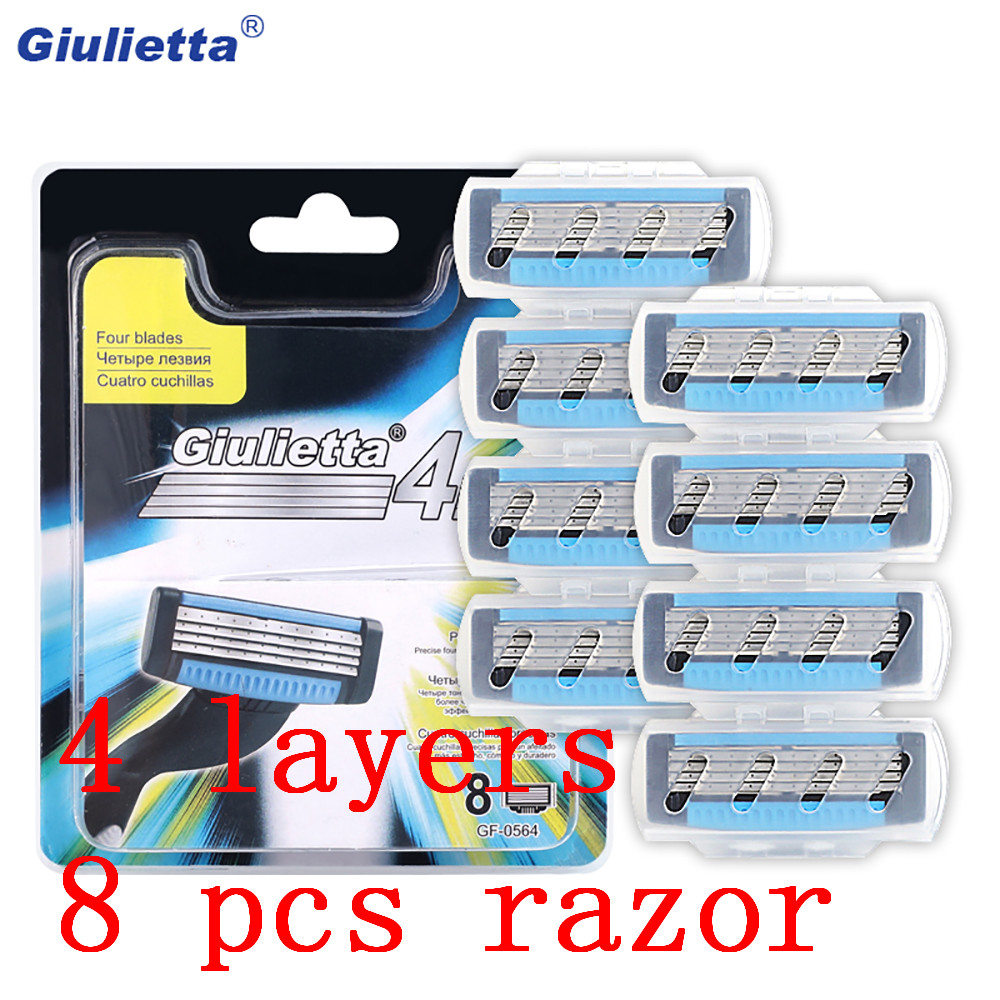 Giulietta Multifunctional 8pcs/set Razor Blades For Men Facial Beard 4-Layer Blades Compatible For Giulietta Shaving Handle