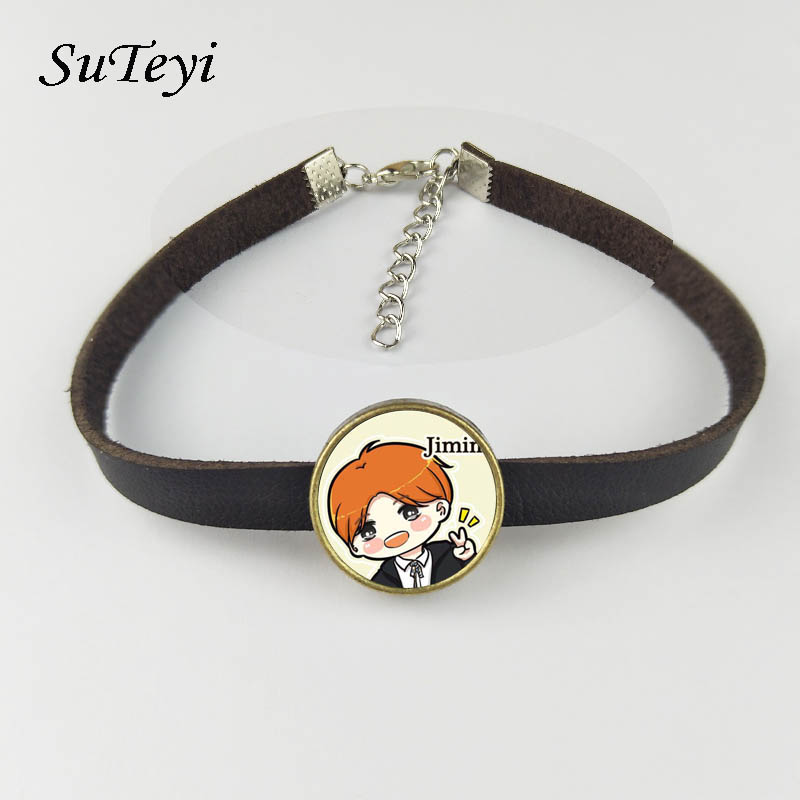 Suteyi Adjustable Leather Hand Woven BTS Bracelet ARMY Jewerly Accessories For KPOP BT21 Bangtan Member Name Cartoon Bracelet bracelet