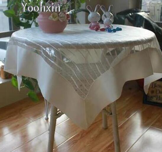 Elegant 83cm Modern Rectangular Satin Kitchen Lace Embroidery Tablecloth Transparent  Tea Table Cover Cloth Towel Christmas Wedding Decor