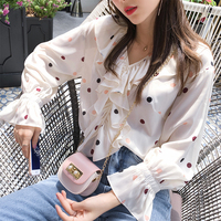 MiShow 2019 summer women casual V neck Long sleeves white dots chiffon cute blouses women MX19B4867