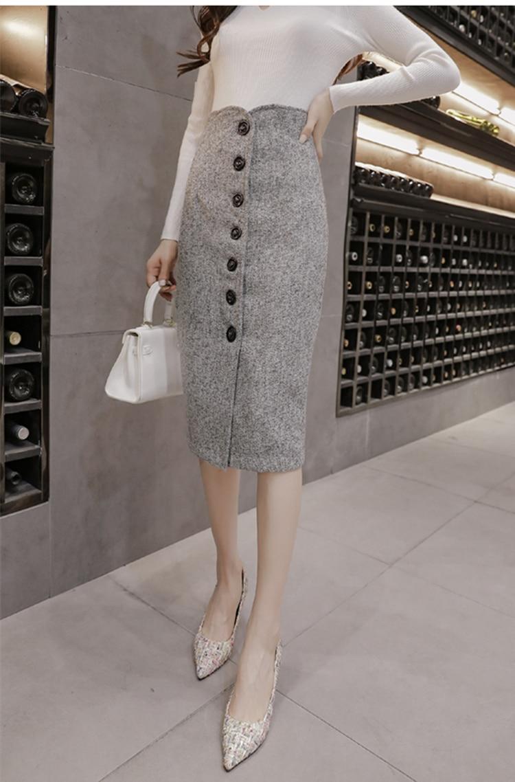 Neophil High Waist Woolen Button Pencil Midi Skirts Office Ladies Office Elegant Grey 19 Winter Wool Wrap Skirts Faldas S1738 8