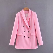 Women Pink Suit Jacket Formal Blazer Double Breasted Pocket
