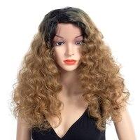 Aigemei вьющимися парик Синтетический коричневый блондинки мягкие Синтетические волосы на кружеве парик для Для женщин 150% плотность жаропроч