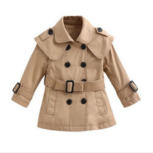 Hot sales Girls trench coat spring models thick long-sleeved belt cute casual Large child Korea style clothing for boys girls