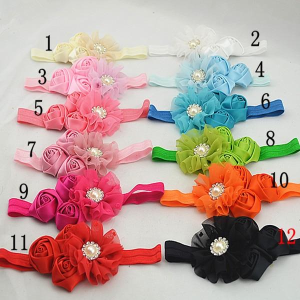 Trail order chiffon flower pearl Button headband triple satin rose flower baby headbands hair accessories 20pcs/lot