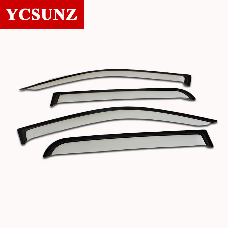 2017 Car Wind Deflectors For Toyota Hilux Revo 2015 Pickup Silver Color Car Window Guard Hilux Door Visor Vent Deflectors Ycsunz