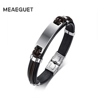 Meaeguet Free Engrave Laser Personalized Stainless Steel ID Bracelet Bangle For Men Handmade Genuine Leather Bracelet