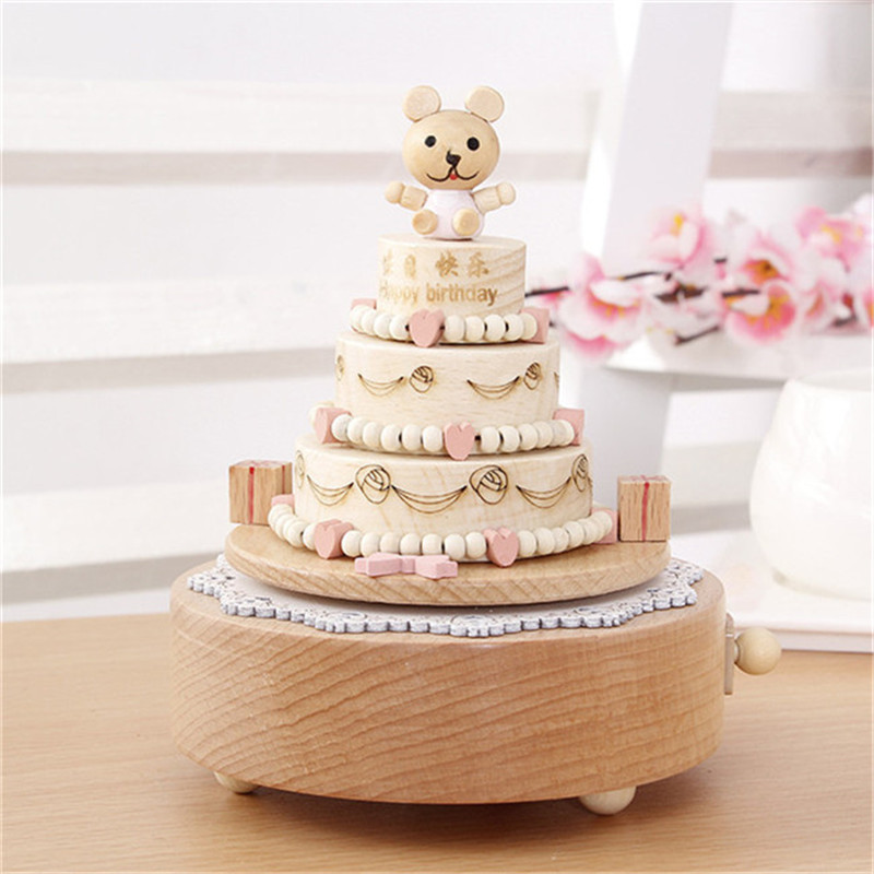 Modern Birthday Cake Shape Wooden Music Box Home Wood Craft Kids Toy
