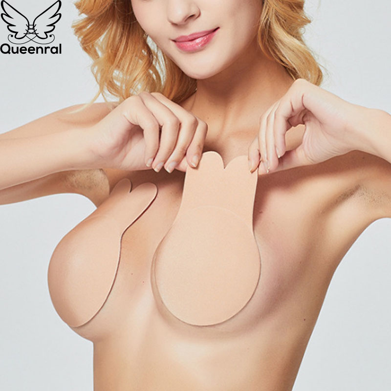 Queenral Strapless Bras For Women Invisible Sticky Bra Push Up Bralette Self Adhesive Bra Silicone Brassiere Wedding Fly Bras BH