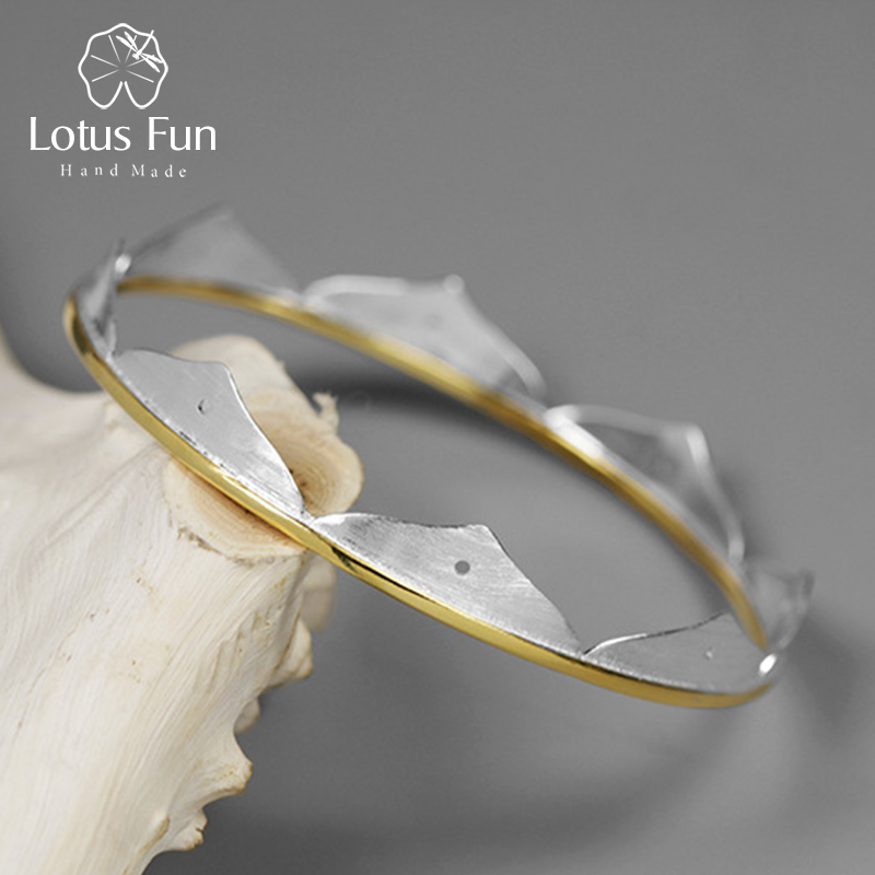 Lotus Fun Real 925 Sterling Silver Natural Creative Handmade Fine Jewelry Minimalist Lotus Flower Bangles for