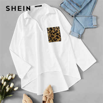 SHEIN Patched Leopard Pocket Dip Hem Blouse Women Clothes 2019 Spring Casual Long Sleeve Ladies Tops Solid Loose Blouses - DISCOUNT ITEM  45% OFF All Category