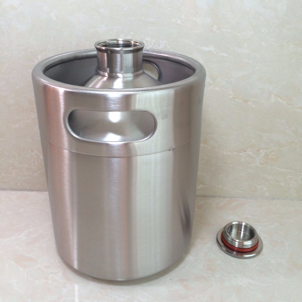 Stainless Steel 2L Mini Keg Beer Growler Portable Bottle Home Making Bar Accessories Tool