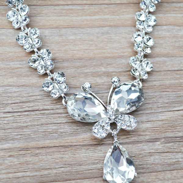Rhinestone Crystal Necklaces+Earring Stick Bride Jewelry Sets for Bridal Wedding (1)