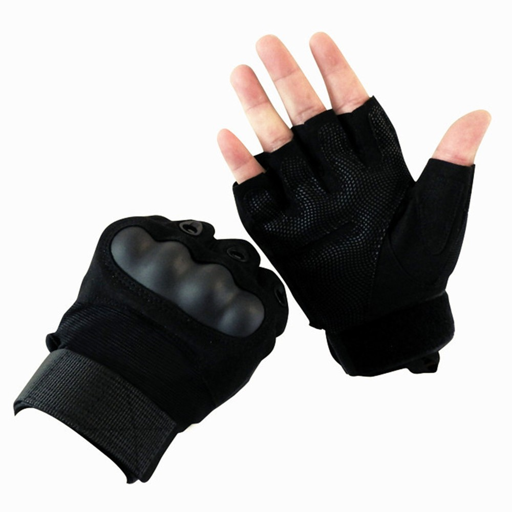 Fingerless gloves climbing - Climbing Bicycle Outdoor Riding Hiking Climbing Training Tactical Half Finger Gloves For Men Fingerless Army Gloves