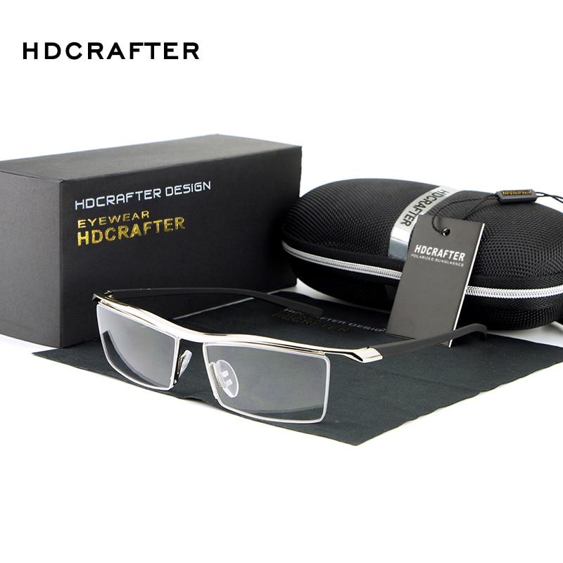 HDCRAFTER Square Rimless Myopia Hyperopia Glasses Men Women Prescription Recipe Glasses Metal Optical Eyeglasses For Men
