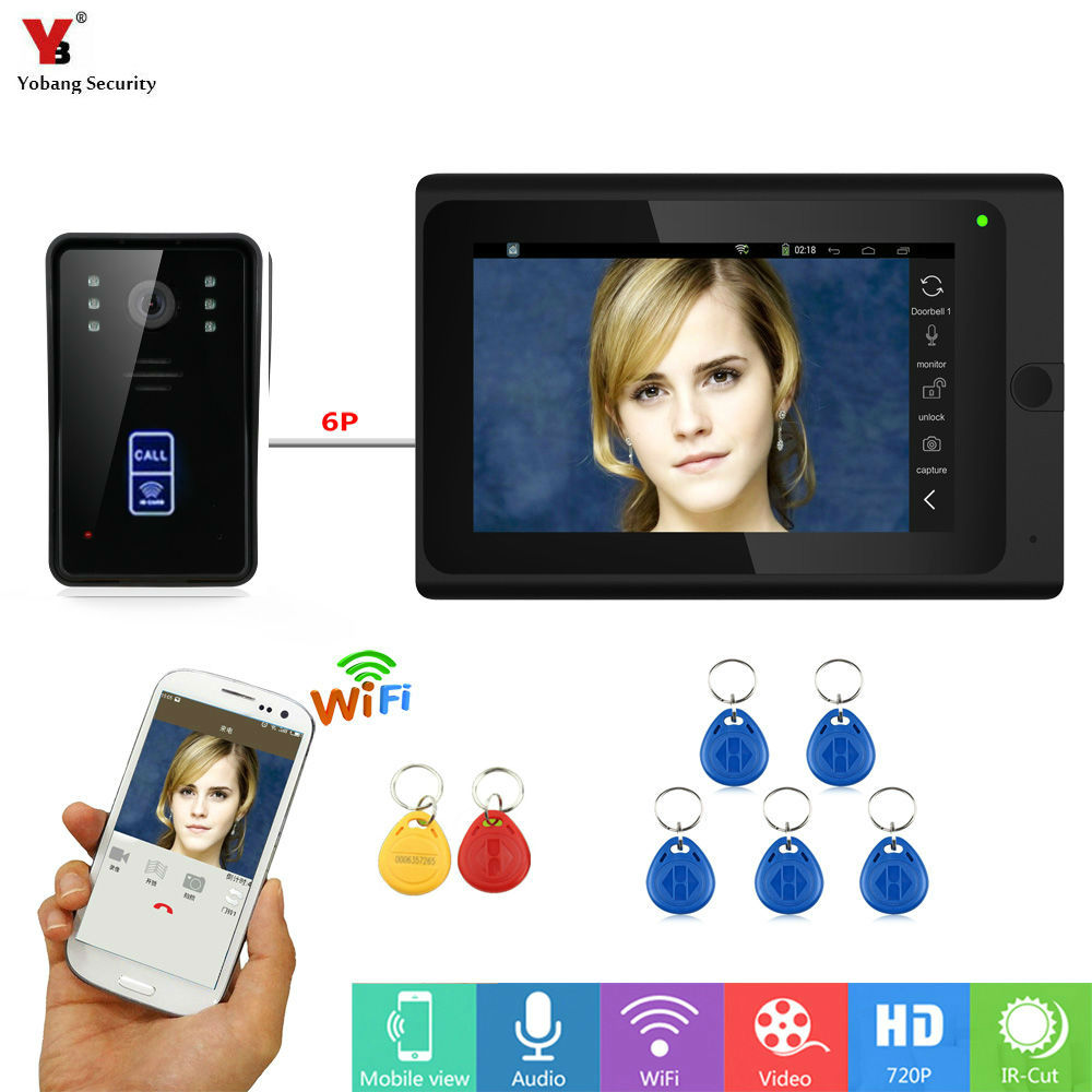 7Wired /Wireless Wifi Video Door Phone Doorbell Intercom System with RFID IR CUT HD 1000TVL Wired CCD Camera Night Vision