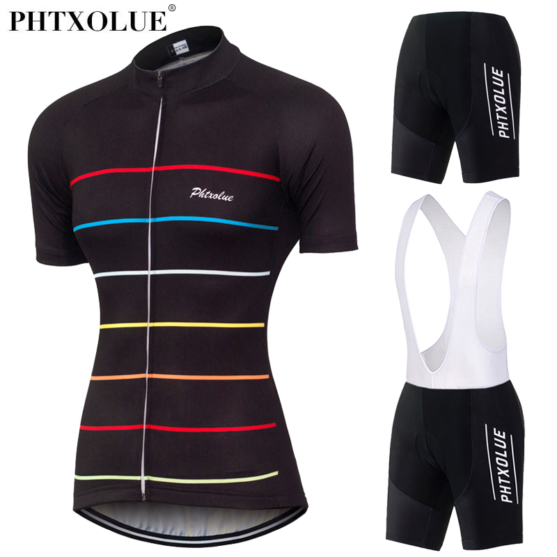 Phtxolue Team Women Cycling Clothing 2018 Black Breathable Bike Bicycle Suit Wear Clothes Short Sleeve Jerseys