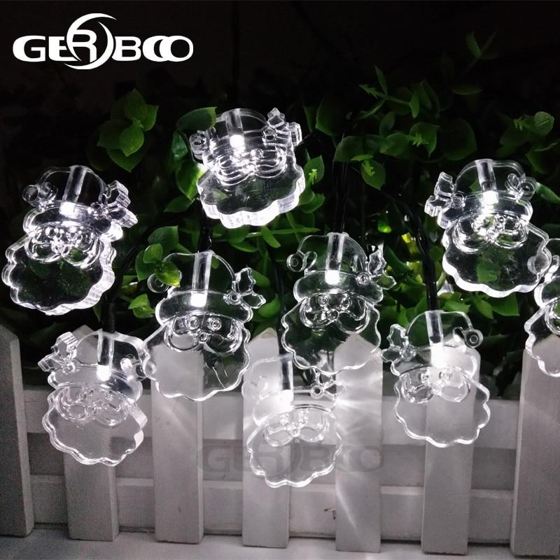 Solar LED String Lights Decorative Lighting Fairy Lights 4.8M 20 LED Multicolour Santa Claus Lighting 2PCS/LOT
