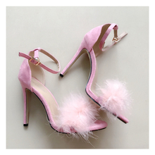 New Fashion Women's High Heeled Shoes Fur Fish Mouth Sexy High Heel Sandals Ladies Elegant Thin High Heels Summer Women's Shoes american ultra high heel fashion nightclubs sexy thin with thin shoes crossed with water platform fish mouth women s shoes