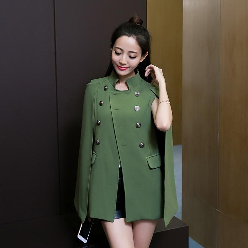 Jacket female 2019 new spring and autumn temperament double-breasted OL cloak coat lapels cloak suit cloak coat windbreaker