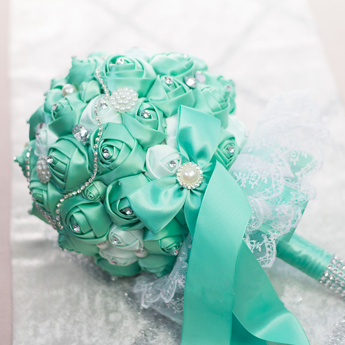 handmade tiffany blue bouquet beaded rose pearl and brooch bridal ...