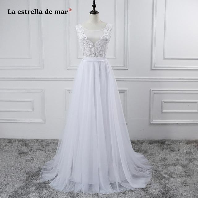 Robe de mariage 2017 nuevo encaje blanco ALine de boda de boho ...