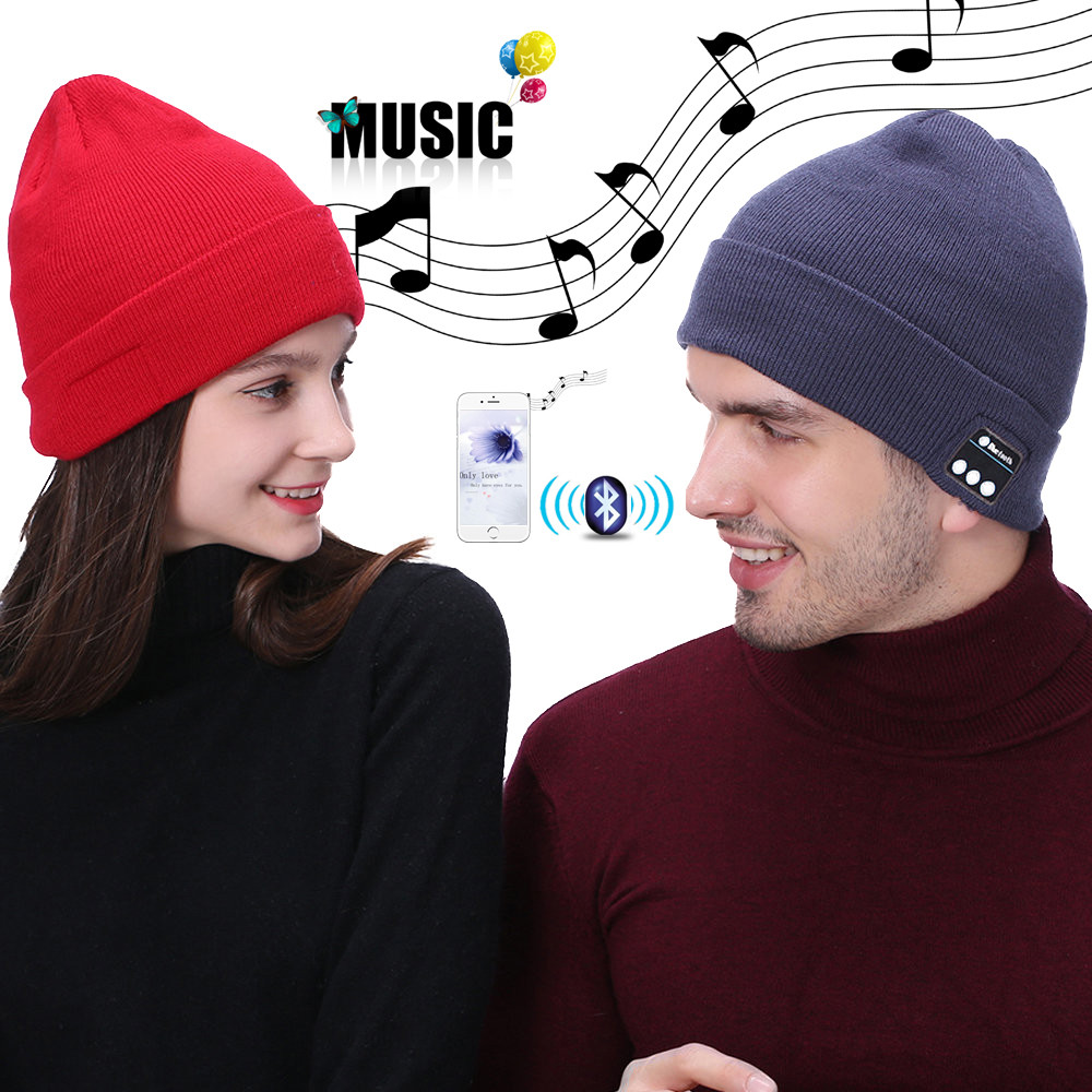 VOBERRY Women Man Bluetooth Music Soft Beanie Winter Warm Hat More Style Stereo Headphone Built-in Mic Headset Wireless Cap