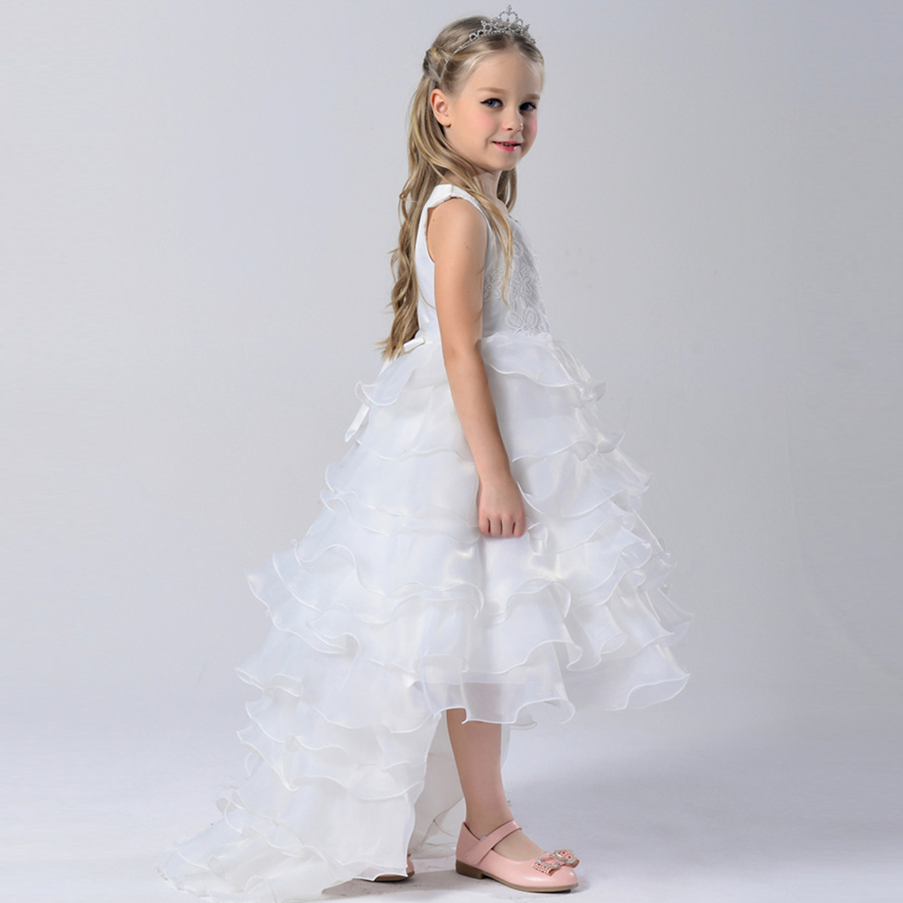 Aliexpress buy 3 7years kids girls evening dresses long aliexpress buy 3 7years kids girls evening dresses long tails children white wedding dresses for bridesmaids girl princess dress for party wear from ombrellifo Image collections