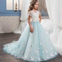 Abaowedding azul mariposa niñas vestidos con mangas vestido de bola Primera Comunión vestido largo muchachas de flor del vestido del desfile