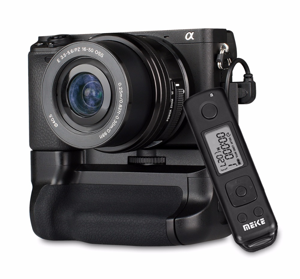 Meike MK-A6300 Pro + Remote Control, Battery Grip 2.4G Wireless Remote Control for Sony A6300 ILCE-A6300 NP-FW50 neewer meike battery grip for sony a6300 camera built in 2 4ghz remote control work with 1 or 2 np fw50 battery