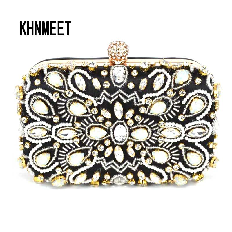 Beaded Clutch Bag Purse Ladies Evening Handbag Women Crystal Sparkly With Chain