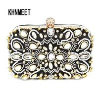 2017 Newest Pearl Tassel Evening Clutch Bags Black Satin With Crystal Fashion Evening Bag Party Purse