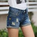 Verão Mulheres Short Jeans buraco Grande tamanho shorts jeans Azul punhos feminino meados cintura solta casuais Plus Size shorts Da Senhora S2140