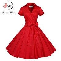 Red Black Summer Dress 2017 Audrey Hepburn Women Polka Dot Vintage Swing Robe Rockabilly Retro 50s