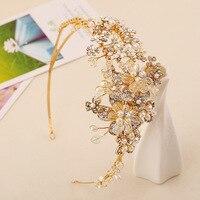 Châu âu cao cấp vàng handmade flower hạt cô dâu vương miện VÒNG KHÂU pha lê hoa mũ wedding phụ kiện tóc