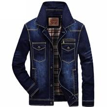 AFS JEEP mens denim jacket brand clothing fashion turn down collar jeans jacket coat outerwear cowboy
