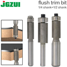 """1pcs 1/4"""" 1/2"""" Shank Flush Trim Router Bits for wood Trimming Cutters with bearing woodworking tool endmill milling cutter"""