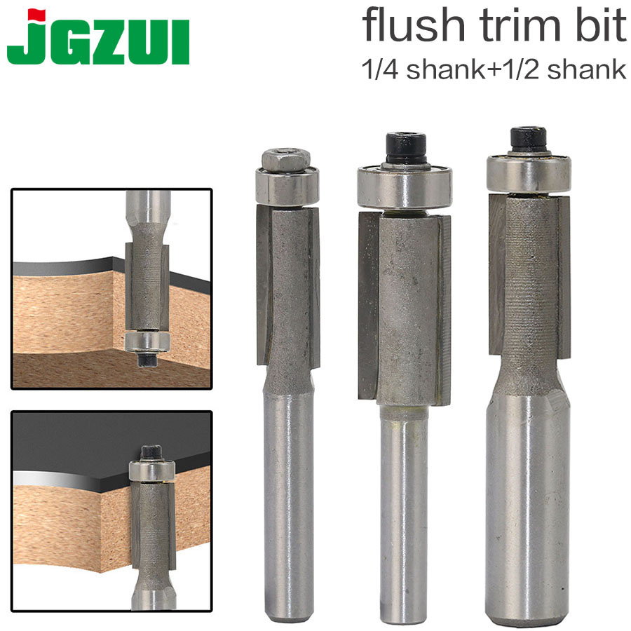 "1pcs 1/4"" 1/2"" Shank Flush Trim Router Bits For Wood Trimming Cutters With Bearing Woodworking Tool Endmill Milling Cutter"