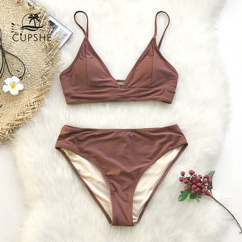 CUPSHE Brown Lace-Up Bikini Sets Women Triangle Mid Waist Two Pieces Swimsuits 2020 Girl Plain Beach Bathing Suit Swimwear 1