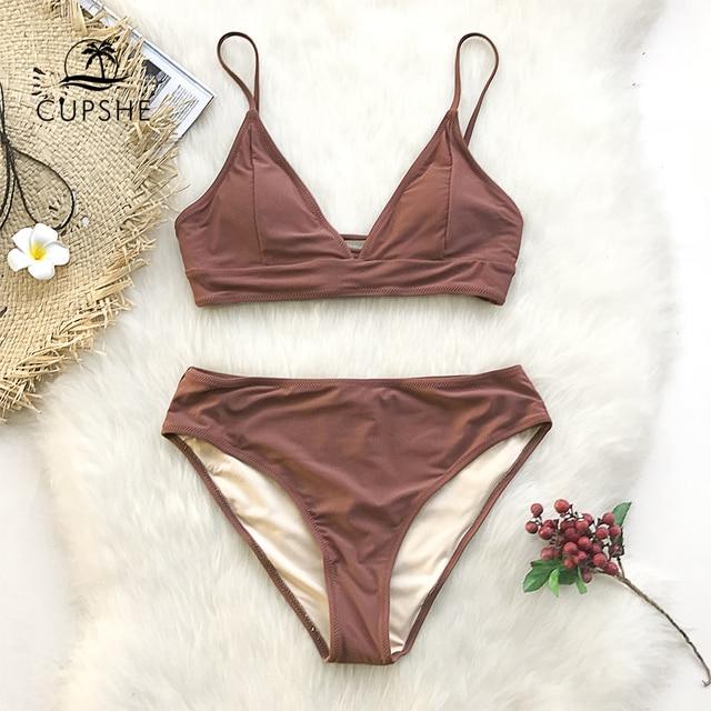 CUPSHE Brown Lace-Up Bikini Sets Women Triangle Mid Waist Two Pieces Swimsuits 2020 Girl Plain Beach Bathing Suit Swimwear 1